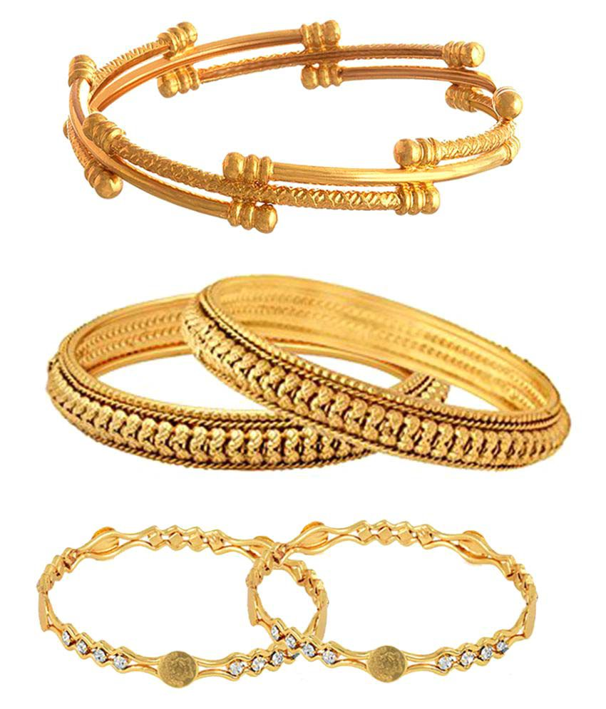 9blings Antique Collection Gold Plated Latkan 4pc Bangles for Womens Girls
