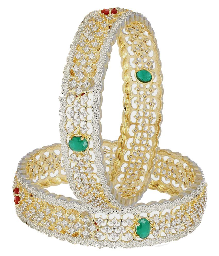 9blings Mesh Design Gold Plated 2pc Ruby Green Pearl Bangles for Women