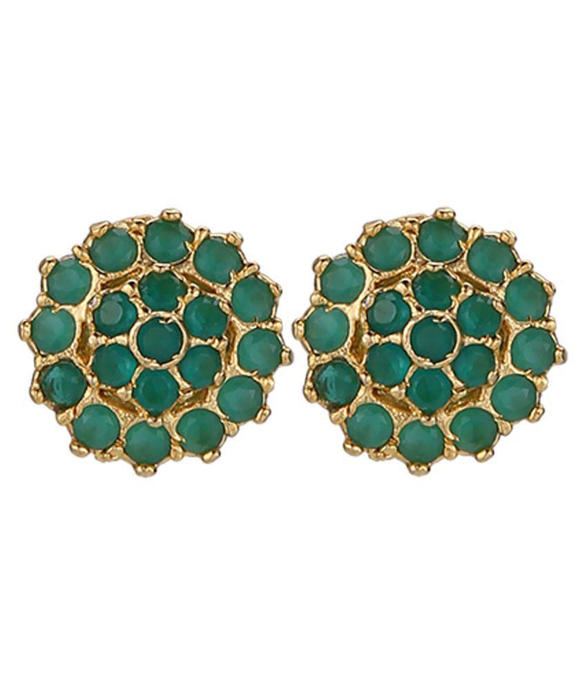 Subharpit Green Brass Metal Indian Traditional Small Jhumka Jhumki Earrings for Women /& Girls